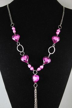 Light Pink Exquisite Crystal Handcrafted Fashionable Heart Necklace Pendant