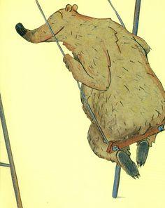 Ilustración de Wolf Erlbruch para la obra El oso en el parque de juegos, de Dolf Verroen.
