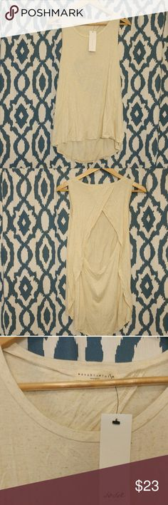 NWT open back hi lo tank Oatmeal colored open back hi lo tank from sosie Wasabi &  mint Tops Tank Tops