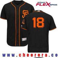 Men's San Francisco Giants #18 Matt Cain Black Alternate Stitched MLB 2017 Majestic Flex Base Jersey