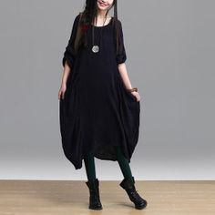 Dark Black Casual Dress Loose Fitting Long by AlisaClothing, $68.00