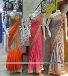 the one on the left Indian Gowns Dresses, Pakistani Bridal Dresses, Indian Fashion Dresses, Pakistani Outfits, Trendy Sarees, Stylish Sarees, Fancy Sarees, Designer Sarees Wedding, New Designer Dresses
