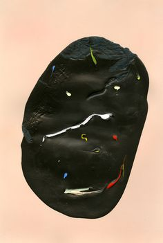 """Some Days, latex, spray paint, gouache, and eyeshadow on paper, 17x11.5"""", 2012"""