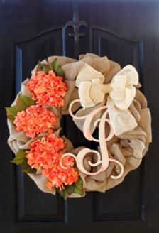 Burlap Wreaths Spring wreath Mothers Day Gift ireaths - Spring Wreath - hydrangea Wreath Summer Wreath for door - Summer Wreaths - on Etsy Crafts To Do, Cute Crafts, Diy Crafts, Diy Wreath, Door Wreaths, Wreath Burlap, Wreath Ideas, Chevron Wreath, Burlap Monogram