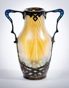 Loetz Vase with Plique a jour Silver Mounts ~ Art Nouveau