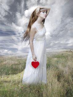 Stocks used Background and sky model hair veil heart