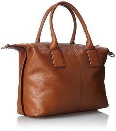 Handbag Fossil Blake Camel Leather/Cotton Lining Zipper Satchel/Shoulder Bag #Bonanza #Doris_Daily_Deals