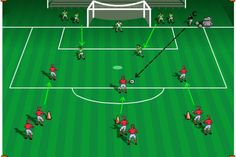 Emphasis: Finishing, receiving, defending, passing, goalkeeping Set-up: Use the penalty area and a regulation size goal. Two lines of defenders stand on both sides of the goal. Three lines of attac… Football Drills For Kids, Football Coaching Drills, Soccer Training Drills, Soccer Workouts, Hockey Drills, Football Stuff, Soccer Practice, Soccer Skills, Youth Soccer