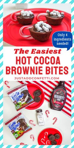 These are the absolute easiest Hot Cocoa Brownie Bites. The holiday season is such a busy time of year. This little holiday treat is 100% no stress with only 3 quick steps, and 4 ingredients needed! Aren't these little cocoa cups the cutest?! Perfect for kids too! They are so simple to assemble. Be sure to head to justaddconfetti.com for even more fun Christmas party ideas, food ideas and simple Christmas gift ideas!