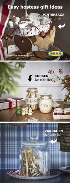Find ideas for affordable hostess gifts and more in the IKEA Holiday Guide. Diy Christmas Gifts, Holiday Crafts, Christmas Holidays, Christmas Decorations, Cottage Christmas, Christmas Foods, Christmas Gingerbread, Winter Holidays, Happy Holidays