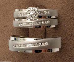 White Gold Men Womens His Her Diamonds Rings Trio Bridal Set Wedding Bands (0.22ct. tw)- RG321444468637