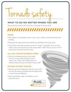 Tornado Safety - What to do no matter where you are. Tornado Preparedness, Emergency Preparedness Kit, Emergency Preparation, Survival Prepping, Survival Skills, Survival Gear, One Punch Man, Tornados, Survival Essentials