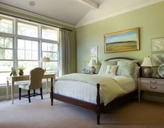 dormitorios con paredes verdes