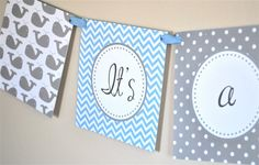 Blue and Gray Chevron Whale Banner  Printable by iheartcupcakestoo, $5.00