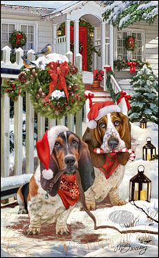"Basset Hound Christmas Cards are 8 1/2"" x 5 1/2"" and come in packages of 12 cards. One design per package. All designs include envelopes, your personal message, and choice of greeting. Select your greeting from the drop-down menu above.Add your personal message to the Comments box during checkout."