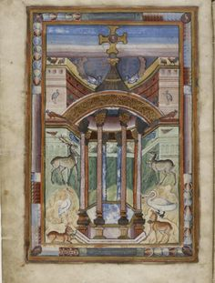 The Fountain of Life from the Gospel Book from Saint-Médard de Soissons Early ninth century Illuminated manuscript page Bibliotheque Nationale, lat. 8850, fol. 6v, Paris, France
