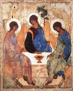 Holy Trinity Icon, believed to be created by Russian painter Andrei Rublev. Trinity depicts the three angels who visited Abraham at the oak of Mamre (see. Genesis but the painting is full of symbolism and often interpreted as an icon of the Holy Trinity.