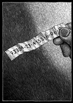 """L'artista svizzero Thomas Ott, mago del disegno graffiato in bianco su superfici nere, torna a inquietare il suo affezionato pubblico con un """"silent book""""."""