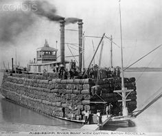 Steamboat Carrying Bales of Cotton on the Mississippi River near Baton Rouge, Louisiana, 19th century