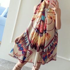 Women Peacock Feather Printing Scarf Polyester Outdoor Sunscreen Shawl - Gchoic.com
