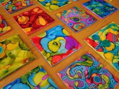 How to dye tiles using alcohol & ink. One day, I will have these in my home