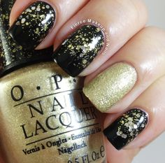 The polishes used: OPI Honey Ryder (accent nail) Super Black Lacquers Blackout (Black base) SOPI: The Golden Age (glitter)