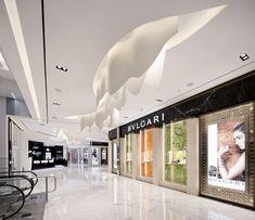 LOTTE DEPARTMENT STORE BUSAN, 1F Lotte Hotel Busan - GLAMOROUS co., ltd. Mall Design, Store Design, House Design, Ceiling Detail, Ceiling Design, Shopping Mall Interior, Interior Architecture, Interior Design, Ceiling Treatments