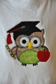Book worm owl appliqued shirt. $22.00, via Etsy.