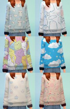 bernies-simblr: Little girls' sweater collection #1 for TS4! Download link here. Standalone sweatshirt set with swatches.