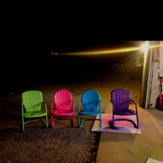 Shabby Old Metal Lawn Chairs Spray-Painted Bright Colours. Painted Metal Chairs, Metal Lawn Chairs, Outside Living, Outdoor Living, Old Chairs, Desk Chairs, Office Chairs, Lawn Furniture, Metal Furniture