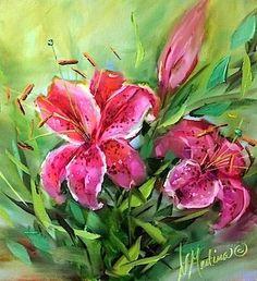 "Daily Paintworks - ""Pink Galaxy Stargazers - Flower Paintings by Nancy Medina"" - Original Fine Art for Sale - © Nancy Medina"