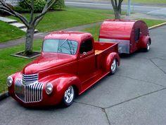 candy apple red truck and tear drop trailer Hot Rod Trucks, Gmc Trucks, Cool Trucks, Pickup Trucks, Lifted Trucks, Chevrolet Trucks, Jeep Pickup, Small Trucks, Toyota Trucks