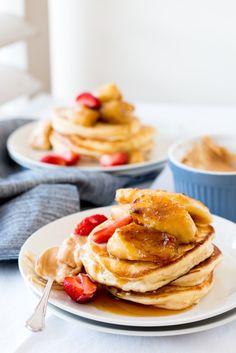 Ricotta Hotcakes with Salted Caramel & Caramelised Bananas - The Brick Kitchen