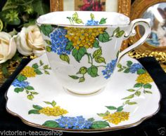 STANDARD CHINA TEA CUP AND SAUCER SQUARE TEACUP LILAC AS FOUND CUP & SAUCER <br/>Cups & Saucers - 63525