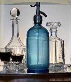 Vintage Blue Soda Siphon Bottle. French by JadisInTimesPast