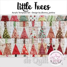 Acryl Template 'Little Trees' door Anna-Jantina Christmas Tree Quilt, Christmas Ornaments, Scrappy Quilts, Quilting, Christmas Projects, Christmas Ideas, Tree Templates, Modern Christmas, Making Memories