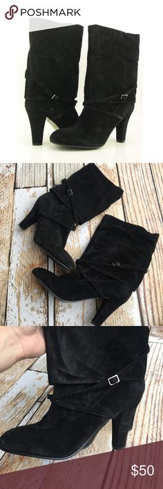 "Enzo Angiolini Emme black suede leather boots Enzo Angiolini Emme black suede leather heeled boots size 8. Worn once.  🌵Bundle deals available. I carry various sizes/brands. 🌵No trades, holds, or modeling. 🌵All reasonable offers accepted only through ""offer"" button. No lowball offers please. Please submit final offer willing to pay as I prefer to not counteroffer. 🌵Happy Poshing! Enzo Angiolini Shoes Heeled Boots"