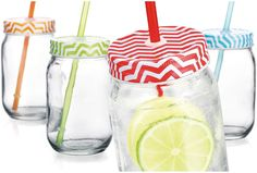 Set of 4 15 Oz Chevron Mason Jar Beverage Cups with Metal Lid and Straw