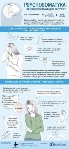 Infografika o psychosomatyce Self Development, Personal Development, Criminology, Coach Me, Psychology Facts, Man Humor, Self Improvement, Good To Know, Health And Beauty