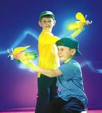 Fireflies light up the night in  these cool crafts.  Use green soda bottle paper, chenille stems and a dollar store glow stick.