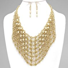 Bead Accented Metal Netting Bib Necklace - SW