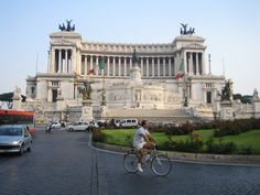Biker in front of the national monument ´Vittoriano´
