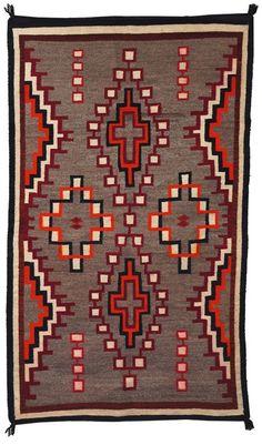 Navajo rug, c. geometric design on a gray field, minor wear and dye run… Navajo Weaving, Navajo Rugs, Native American Rugs, Native American Beading, Navajo Culture, Rookwood Pottery, Native Design, Southwest Art, Indian Rugs