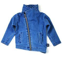 French Terry Biker Jacket in Denim by Nununu - Junior Edition www.junioredition.com