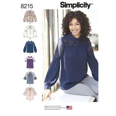 Misses pull-over blouse has back neck button closure with bow or collar neckline and a gathered yoke for a feminine shape. Pattern has sleeve, trim and contrast fabric variations. View C shown with contrast lace on yoke and upper sleeve. Simplicity sewing pattern.
