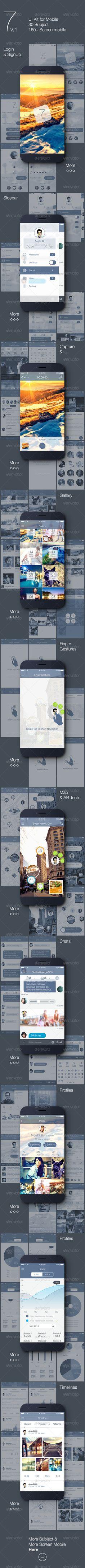 7 v.1 - Mobile UI Kit Template PSD #design Download: http://graphicriver.net/item/7-v1-mobile-ui-kit/7518884?ref=ksioks
