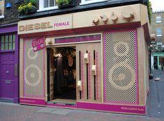 Diesel #pop #up #shop #boom #box #pink #window #merchandising