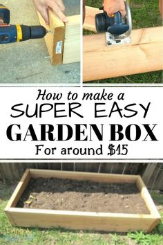This step-by-step raised garden box tutorial is so easy! I made 4 boxes in less than an hour. It teaches you how to make any size garden box by teaching you the technique so you can make any type… Building Raised Garden Beds, Raised Beds, Garden Care, Gardening For Beginners, Gardening Tips, Box Building, Building Garden Boxes, Square Foot Gardening, Garden Types