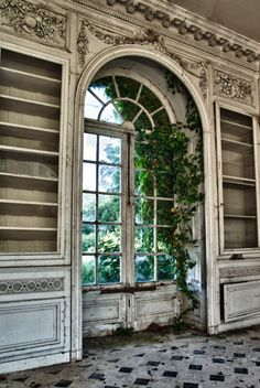 Château des Singes... Big arched french doors/windows with framing bookshelves... Reminds me of Beauty and the Beast. Love it.