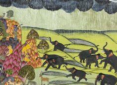 Death of Vali; Rama and Lakshmana Wait out the Monsoon (detail). Illustration from the Ramcharitmanas of Tulsidas (1532–1623) Jodhpur, ca. 1775  Mehrangarh Museum Trust